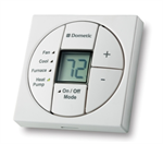 Thermostat shown for example only.  Your white thermostat will be the color your order, with the correct text on the buttons.